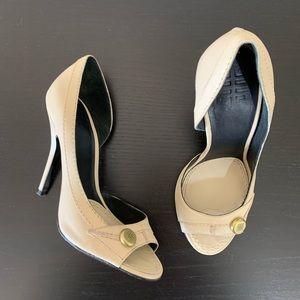 Givenchy • Tan Peep Toe D'Orsay Pumps Size 36